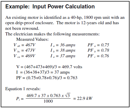 example input power calculation